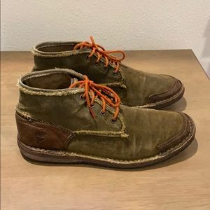 Timberland canvas & leather lace up boots 8.5 mens
